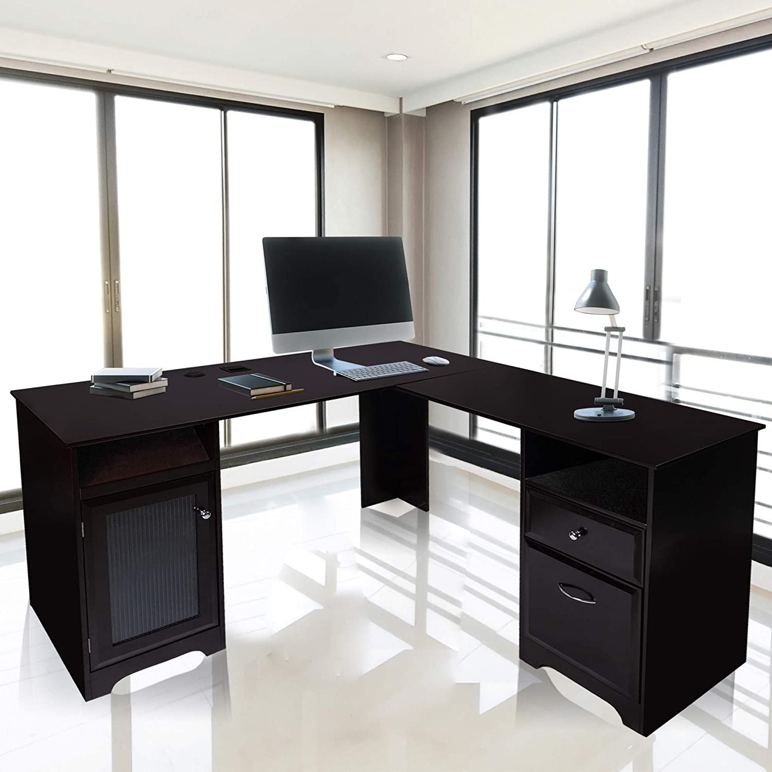 GOOD & GRACIOUS L-shaped desk, Home Office Corner Computer Desk, Modern Study Desk Writing Workstation with Drawers and Storage, Dark Brown