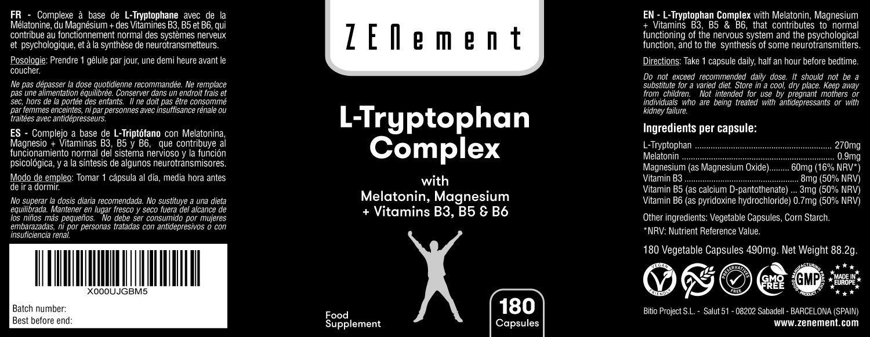L-Triptófano Complex con Melatonina, Magnesio + Vitaminas B3, B5 y ...