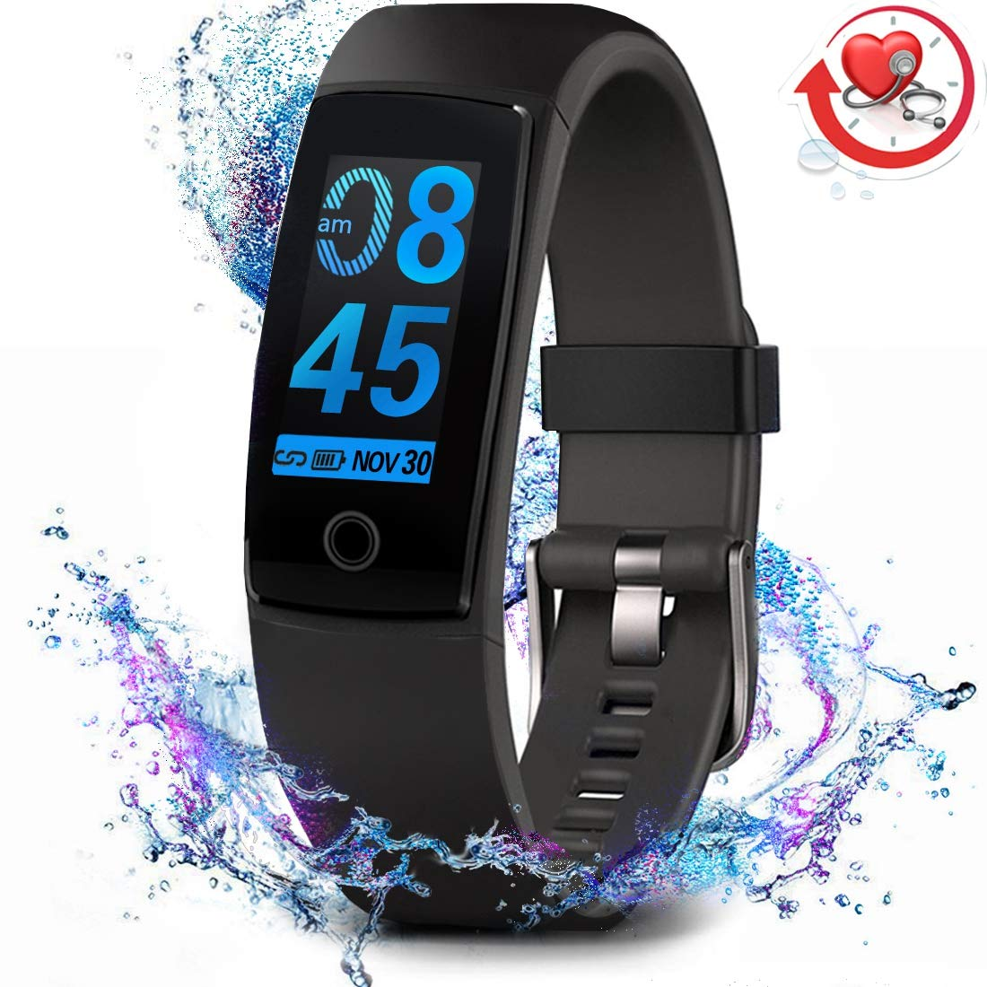 MorePro Fitness Tracker Waterproof Activity Tracker with Heart Rate Blood Pressure Monitor, Color Screen Smart Bracelet with Sleep Tracking Calorie Counter, Pedometer Watch for Kids Women Men,Black by MorePro (Image #1)