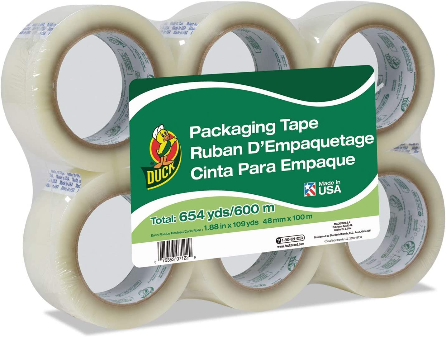 """Details about  /2 Rolls Clear Duck Packaging Tape 1.88/""""x 55 yds Each Packing Tape ShippingTape"""