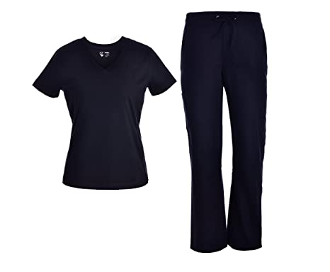 Pandamed V-Neck Scrubs Set With Rib Basic Medical Uniforms Doctor Nurse Scrubs Sets Black