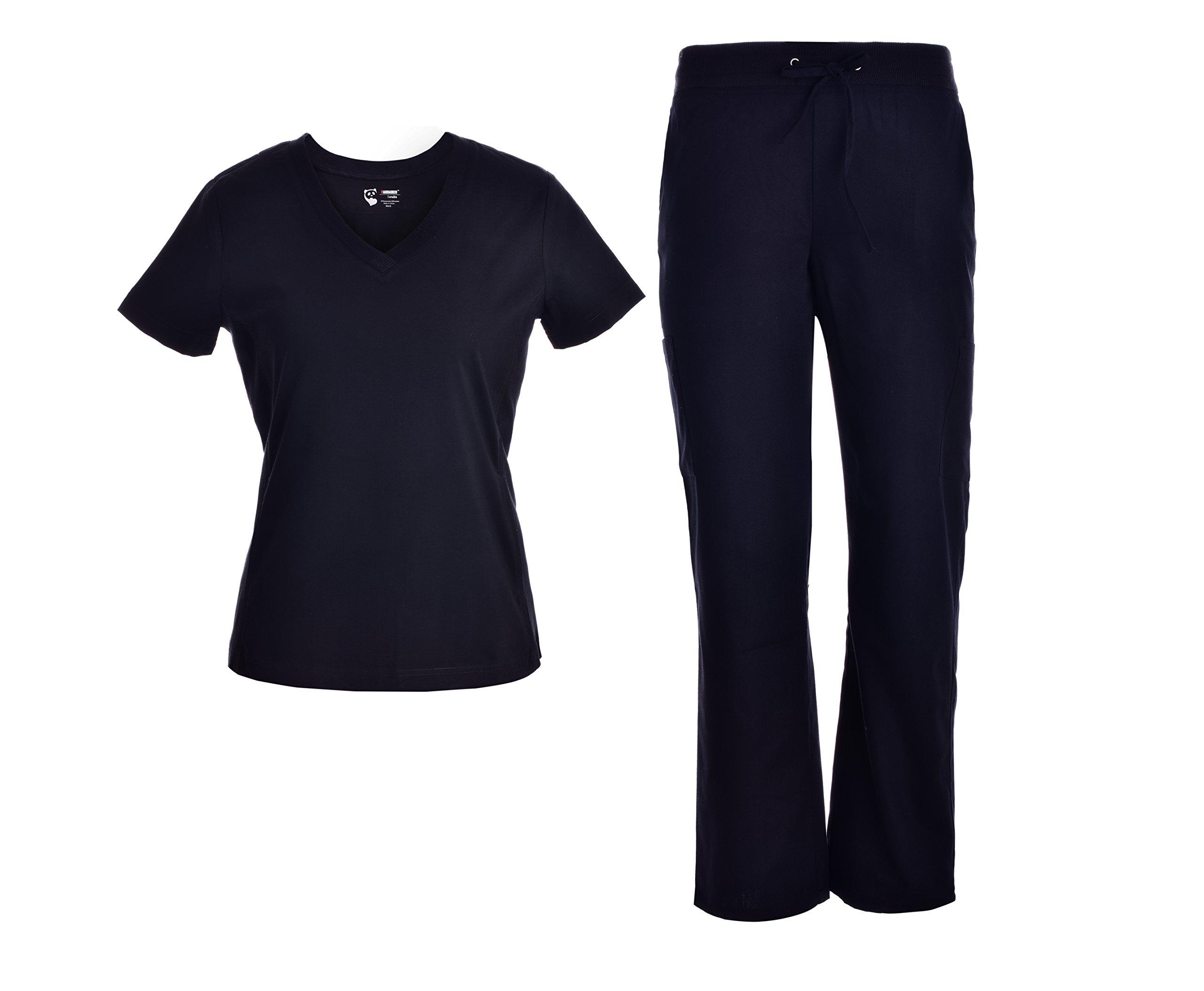 Pandamed V-Neck Scrubs Set With Rib Basic Medical Uniforms Doctor Nurse Scrubs Sets Black-JY1606 (Black, L)