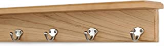"product image for Solid Cherry Shelf Coat Rack with Satin Nickel Single Style Hooks (Natural, 21"" with 4 hooks)"