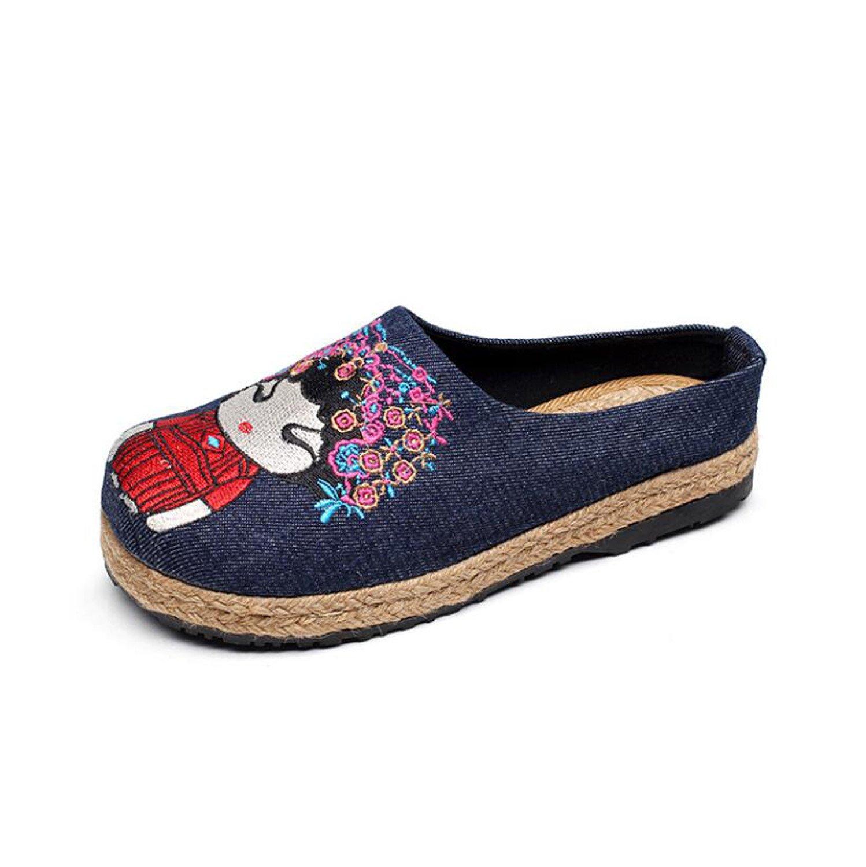DANDANJIE Sunmer Schuhe Frauen Hausschuhe Flachs Leinen Pantoletten Alten Peking Hausschuhe  Flip-Flops Geschlossene...