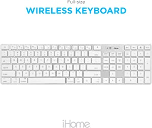 iHome Full Size Wireless Keyboard - Compatible with Apple iOS or Windows - Sleek Mac and iMac Style Design - Desktop PC or Laptop
