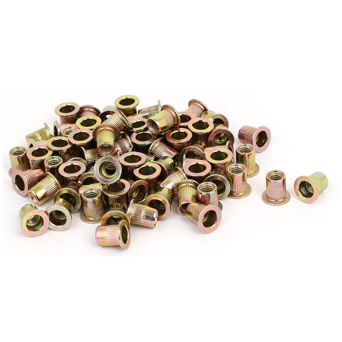 uxcell M6x12mm Zinc Plated Knurled Flat Head Rivet Nuts Insert Nutsert Bronze Tone 70pcs