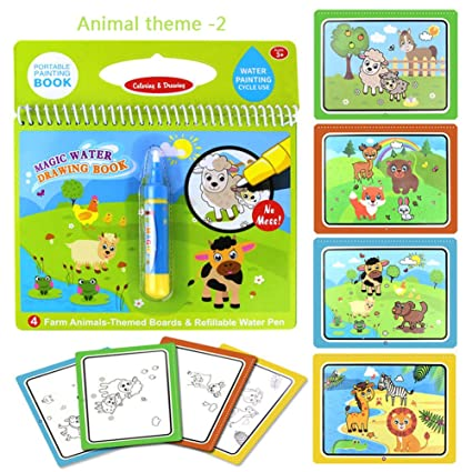 Amazon.com: Animal magic book Water water Coloring Book with water ...