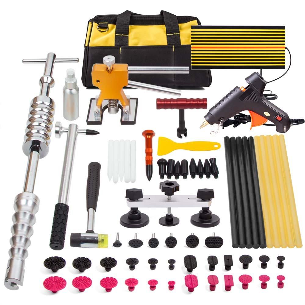 PDR Tools,TongYu 65pcs Dent Puller Kit Set Rubber Hammer Dent Lifter Bridge Puller PDR Tabs Dent Removal Light Hot Glue Gun Glue Sticks for Car Dent Repair