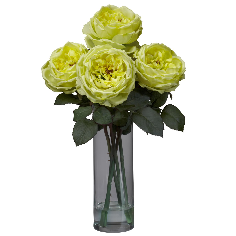 シリンダー花瓶シルクフラワーアレンジメントと自然に近い1247-YLファンシーローズ B00ASQ2RGQ イエロー イエロー