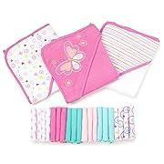 Spasilk 23-Piece Essential Baby Bath Gift Set, Pink Butterfly