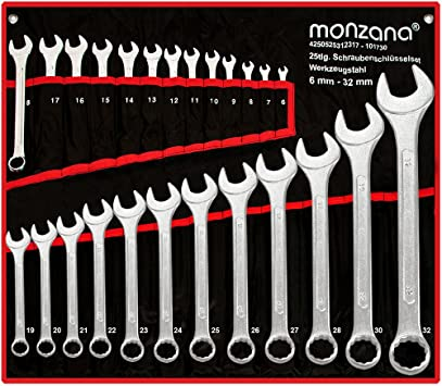 Monzana Juego de 25 llaves fijas de 6 hasta 32 mm piezas herramientas en cromado mate con bolsillo enrollable: Amazon.es: Bricolaje y herramientas