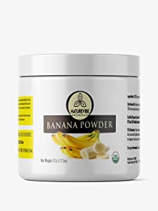Naturevibe Botanicals Banana Powder, 8 ounces   Non-GMO and Gluten Free   Adds Flavor   Rich source of protein