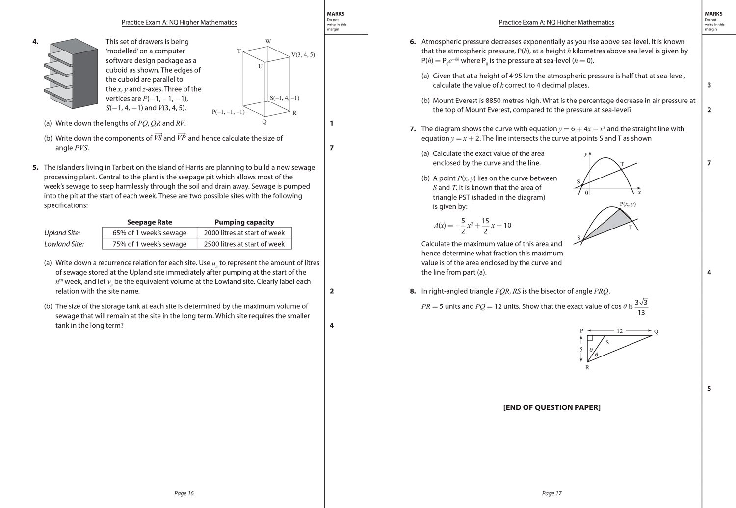 CfE Higher Maths Practice Papers For SQA Exams Practice Papers - Above sea level calculator