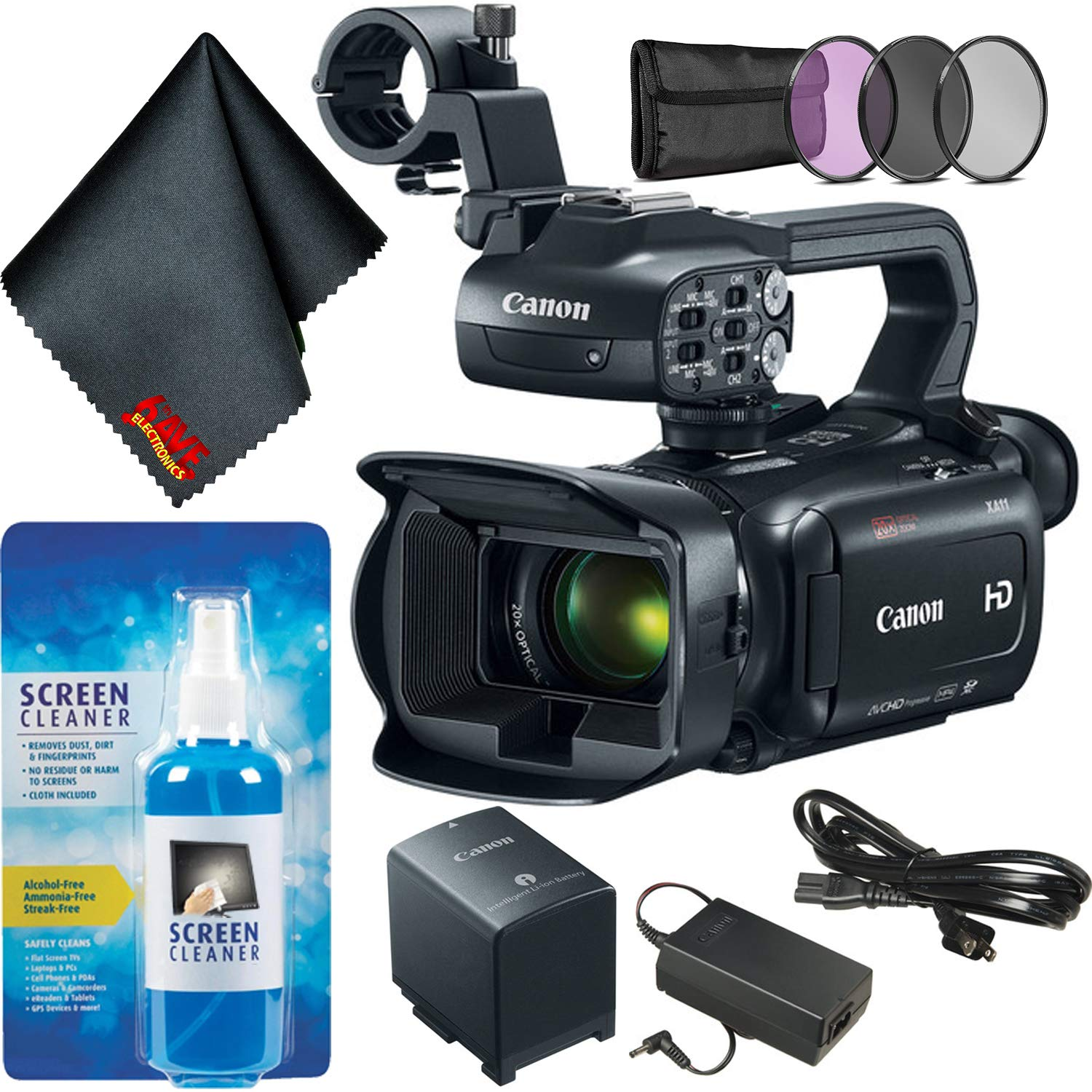 Canon XA11 Compact Full HD Camcorder Bundle w/Filter Kit
