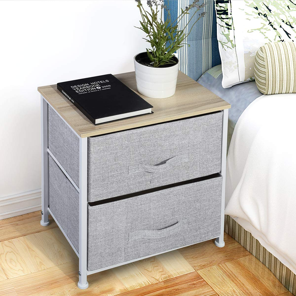 Aingoo Pack of 2 Fabric Drawer Storage Drawer Tower Units Bedroom Living Room Entryway Closet Organizer Cabinet with Metal Frame Grey