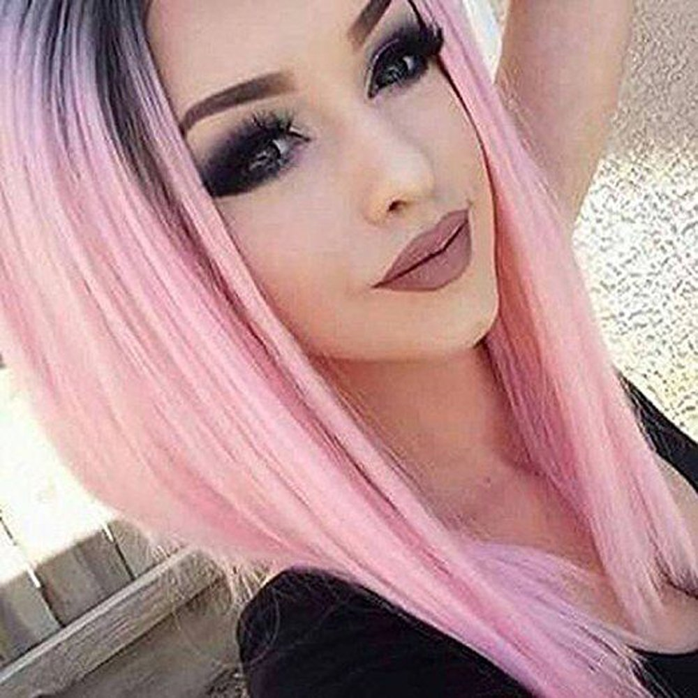 Tsnomore Silky Pink Ombre Women Wig Cosplay Carnival Costume Hair Wigs(Middle Length)