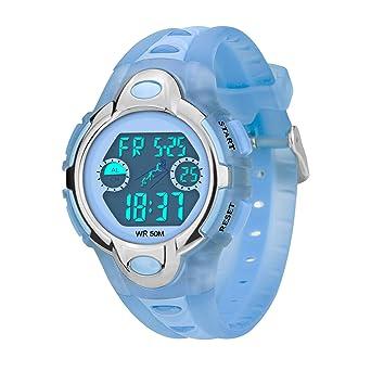 Reloj de Pulsera con Alarma LED analógico de 7 Colores, con cronógrafo, Resistente al Agua, Reloj de Pulsera para niños: Amazon.es: Relojes