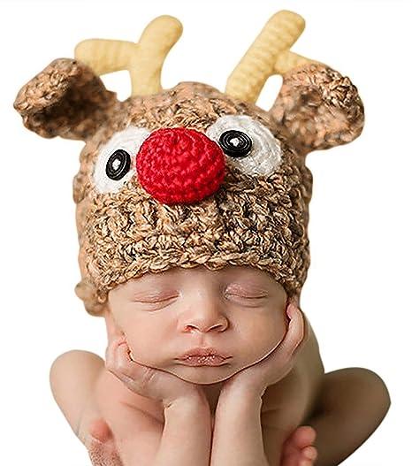 4008471b85a7c Bienvenu Christmas Santa s Reindeer Crochet Toddler Baby Hat Beanie Photo  Prop