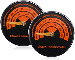 Magnetic Stove Thermometer Wood Burner Top Thermometer Stove Temperature Meter Stove Flue Pipe Thermometer Fireplace Accessories for Avoiding Stove Fan Damaged by Overheating (2)