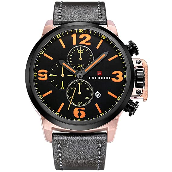 FAERDUO Relojes de Cuarzo analógicos para Hombre Reloj de Pulsera Deportivo multifunción Impermeable con cronógrafo Fecha