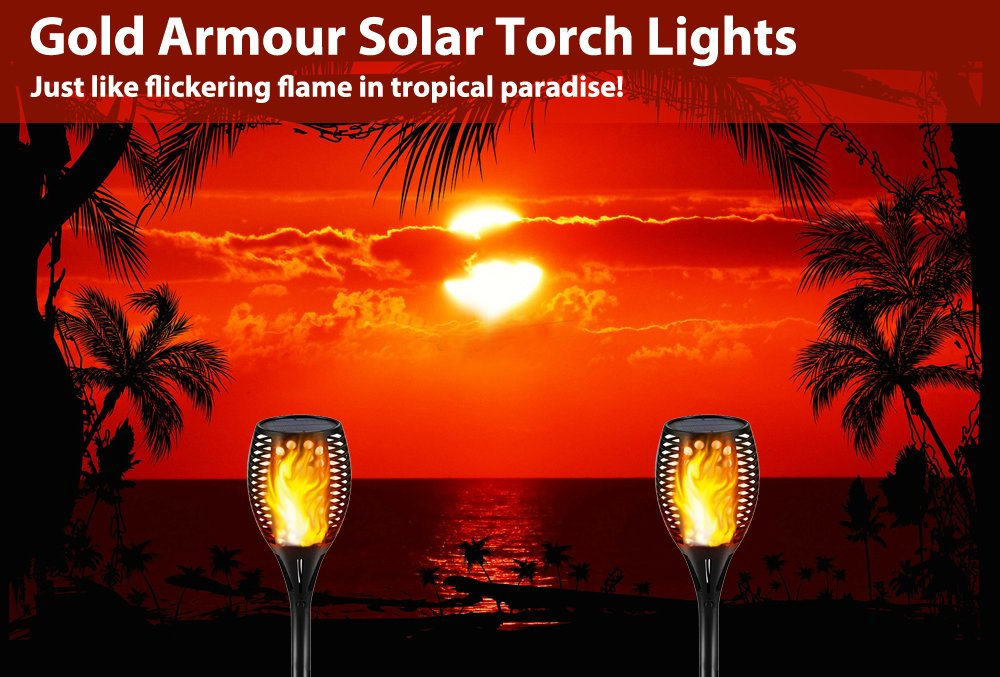Gold Armour Solar Lights Outdoor - Flickering Flames Torch Lights Solar Light - Dancing Flame Lighting 96 LED Dusk to Dawn Flickering Tiki Torches Outdoor Waterproof Garden (4Pack) by Gold Armour (Image #3)