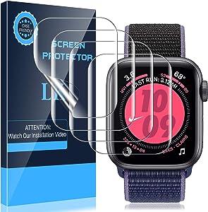 LK 4 Pack Screen Protector Compatible with Apple Watch Series 3 42mm and Series 6 SE Series 5 Series 4 44mm, Model No. KR9836, Flexible TPU Film,fingerprint-proof, Self-Healing, HD Transparent