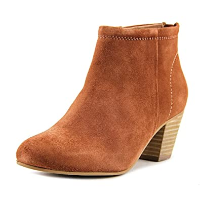 Clash Women Round Toe Leather Tan Bootie