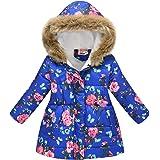 LINKIOM Children's Padded Jacket Fashion Print Cartoon Long Collar Hooded Padded Fleece Warm Coat Winter Hoodie Outwear