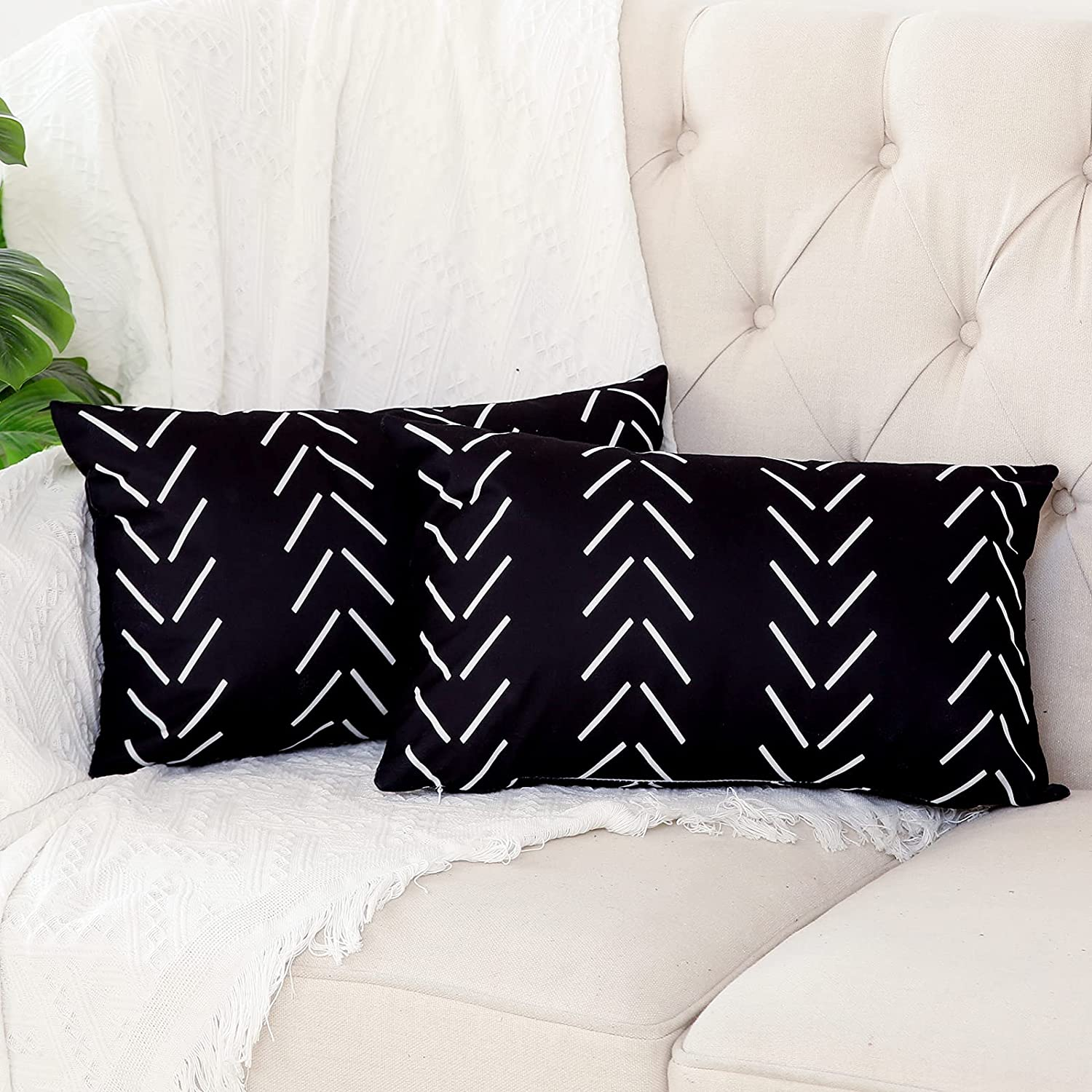 Kiuree Set of 2 Black and White Pillow Covers 12 x 20 inches Boho Aztec Polyester Blend Lumbar Decorative Throw Pillow Covers for Sofa Couch Bed Decor(Black)