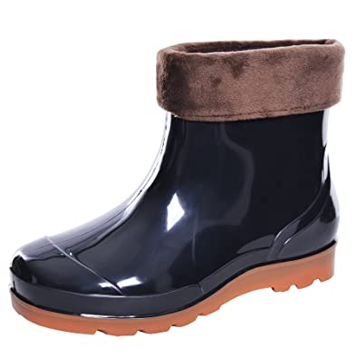 61e242c3f27cb JACKY LUYI Men Rain Boots Waterproof Rubber Washing Work Boots Black Fur  6.5-39