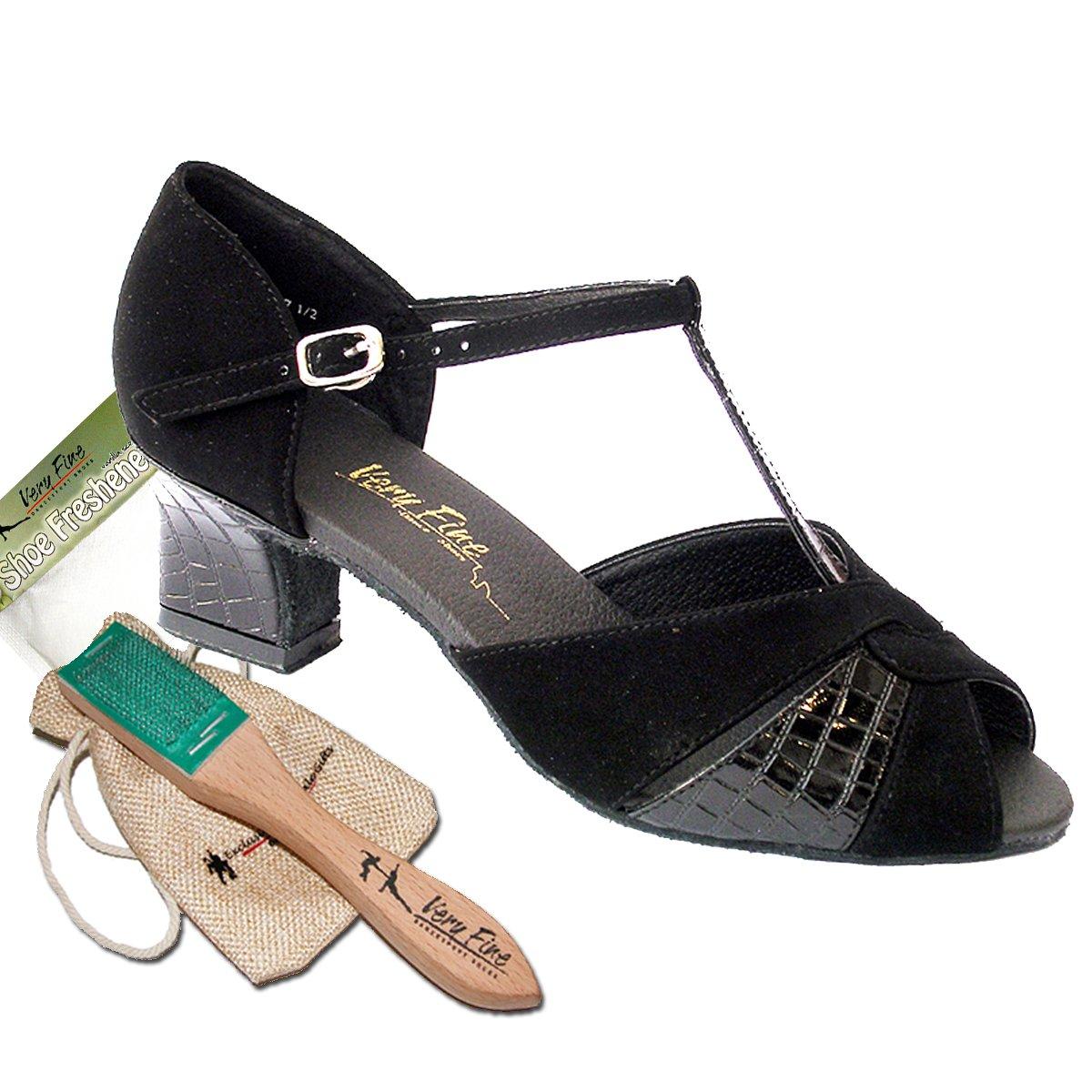 Women's Ballroom Dance Shoes Salsa Latin Practice Dance Shoes Black Nubuck 6006EB Comfortable - Very Fine 2'' Heel 8.5 M US [Bundle of 5]