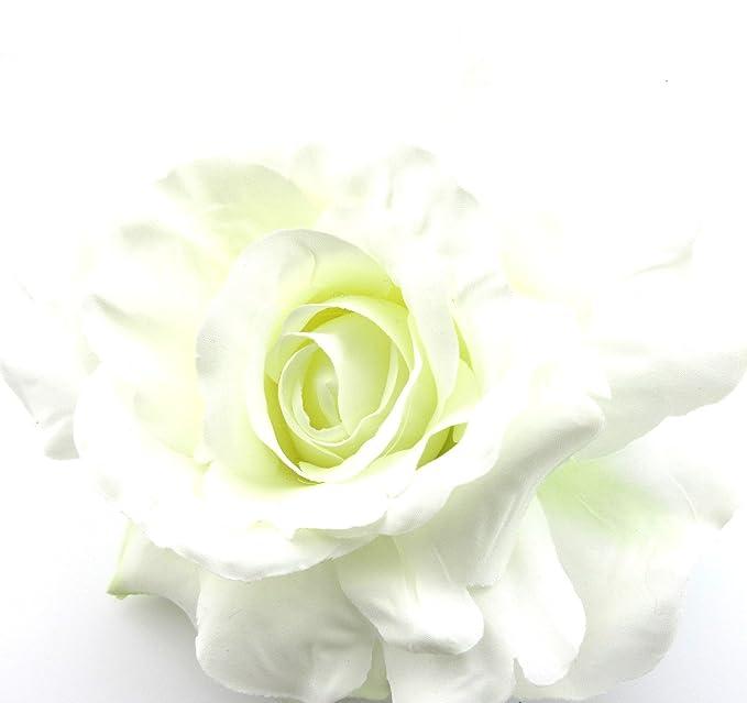 Amazon Com 5 Full White Rose Silk Flower Hair Clip With Teeth
