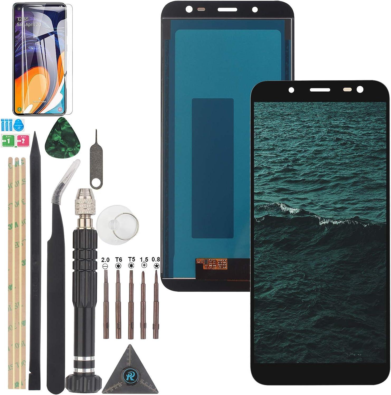 YWL-OU Reemplazo de Pantalla para Samsung Galaxy J6 2018 J600 LCD Display Digitalizador de Pantalla táctil +con un Conjunto de Herramientas (Negro)