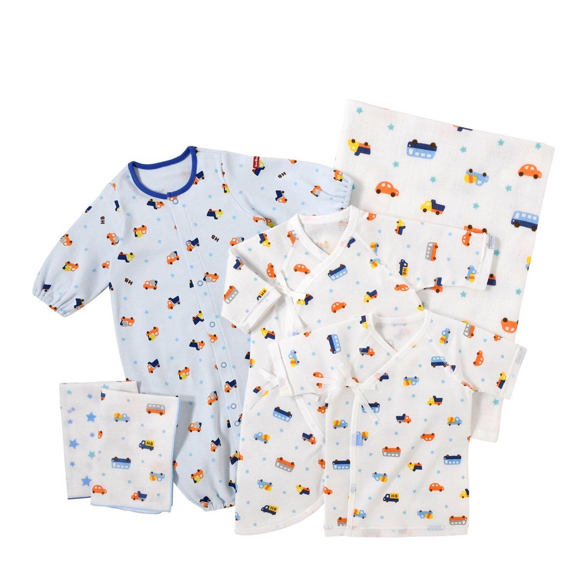 ミキハウス ホットビスケッツ (MIKIHOUSE HOT BISCUITS) ベビー服 ウェアセット 出産祝いセット スターターセット 74-9925-978(新生児用)ブルー  ブルー B06Y43HHST