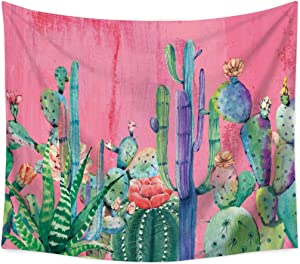 jessieline Plant Cactus Theme Decor Tapestry Watercolor Wall Hanging Flower Wall Tapestry Plant Art Wall Blanket for Bedroom Living Room Dorm Home Decor