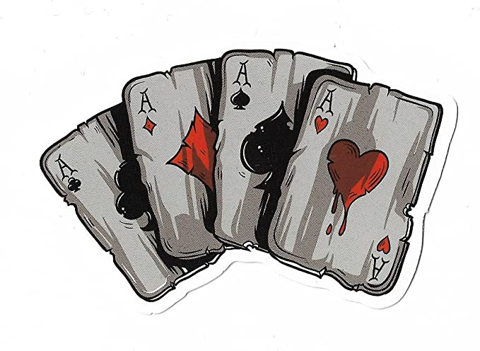 Aufkleber Sticker Pokerkarten Gambling Cards Poker Casino Bunt Deko Pickerl Bürobedarf Schreibwaren