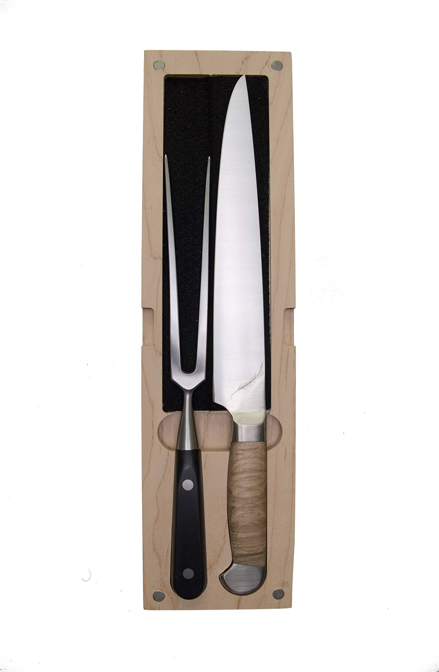 Ferrum EST-SET-0200 Estate Double Bolster Carving Fork and 9-Inch Carver Knife with Storage Box One Size Maple