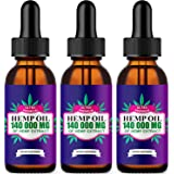 3 Pack ,Hemp Oil Drops 140 000 mg, Co2 Extracted, Made in USA, Help Reduce Stress, Anxiety and Pain, 100% Natural Ingredients