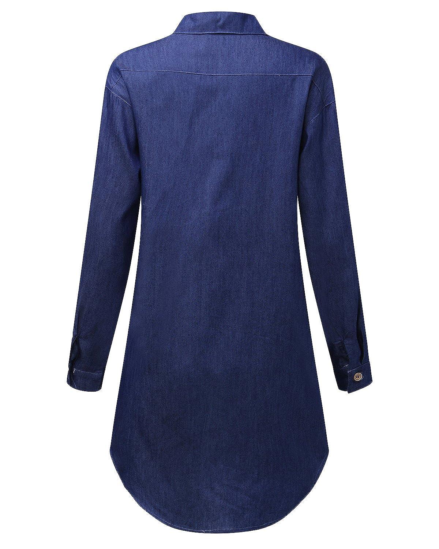 StyleDome Mujer Blusa Camisa Vaquera Larga Mangas Largas Casual Elegante  Oficina Azul Oscuro EU 48  Amazon.es  Ropa y accesorios 9a8daba31ffe