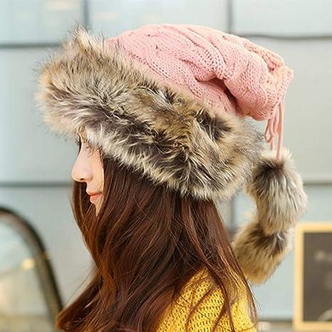 c2ac53dd Amazon.com : Winter Hat Women Scarves Beanies Fur Cap Warm Plus Hats For  Women Baggy Knit Caps Fur Bonnet Ladies Winter Beanie Wool Hat 2018 (Pink  color) ...