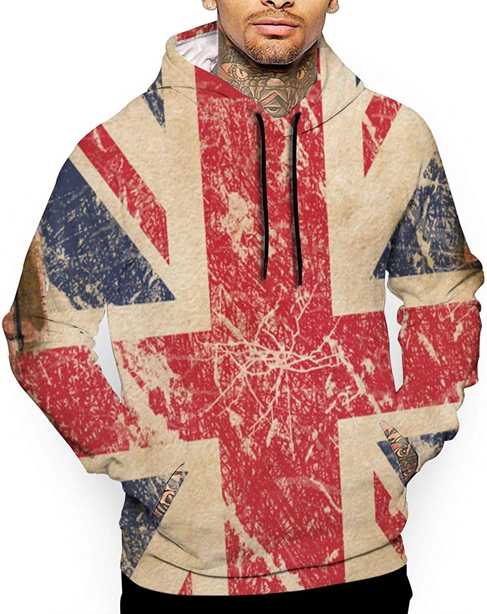 Jinyimingpi Mens Hoodies British Flag Full Print Sweatshirt Pullover Jackets Hooded