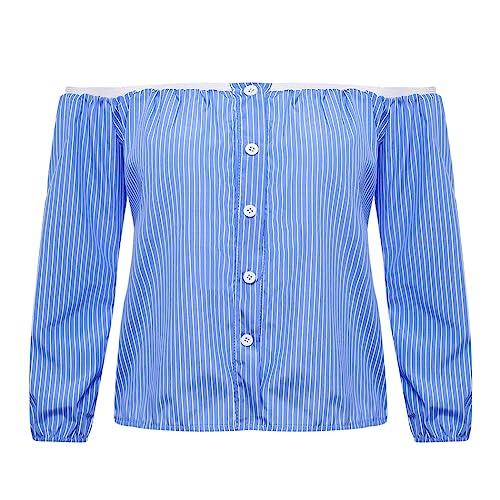 MIOIM Mujeres Tops Suelto Camisa del Hombro Libre Sin Tirantes de Azul y Blancas Rayas de Algodón Me...