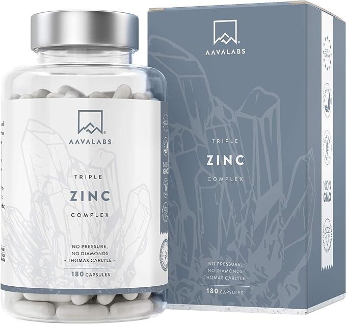 AAVALABS® - Triple Zinc Premium - 25mg - Altamente concentrado - 3x Formas de Zinc -Picolinato, Bisglicinato y Monometionina - 180 Cápsulas - Testado ...