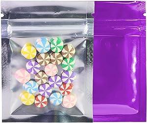 QQ Studio Clear/Colored Mylar Zip Lock Bags w/Tear Notch 6.5x9cm (2.5x3.5