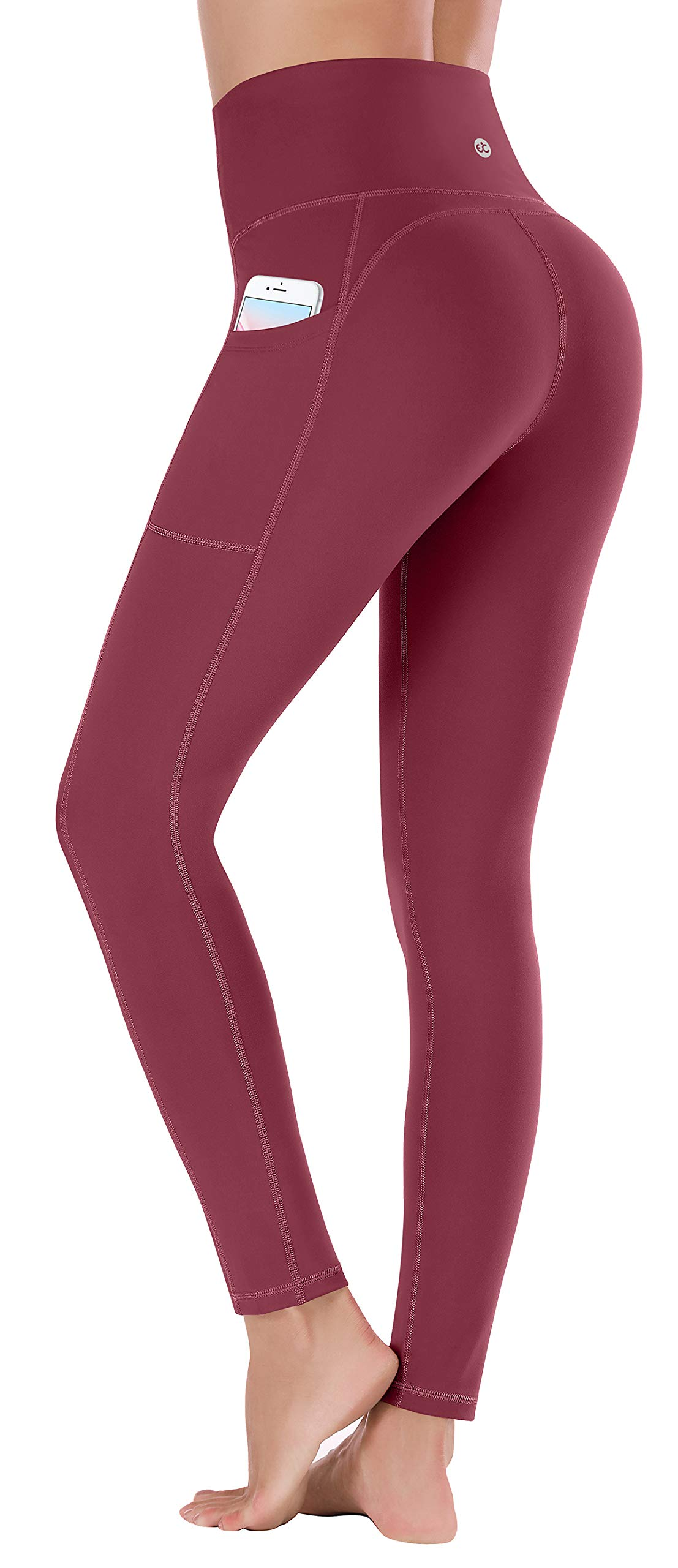 Ewedoos Women's Yoga Pants with Pockets - Leggings with Pockets, High Waist Tummy Control Non See-Through Workout Pants (Ew320 Maroon, Medium) by Ewedoos