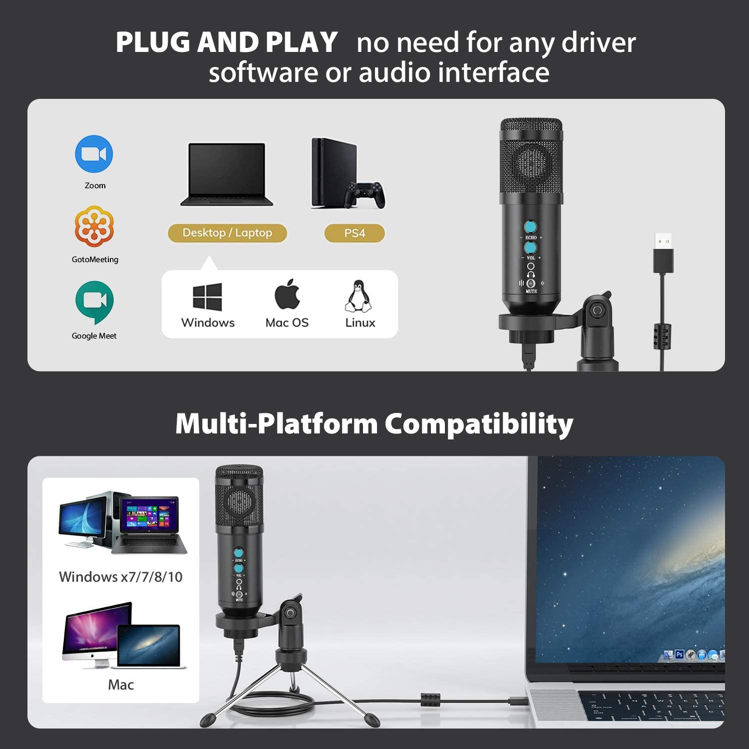 PC Microphone PC Desktop Laptop Streaming of iMac Podcasting USB Condenser Microphone Gaming Mic Plug /& Play with Tripod Stand /& Pop Filter for Vocal Recording