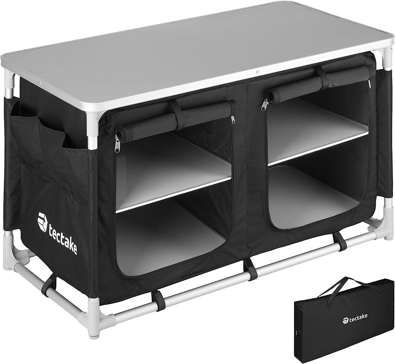 TecTake 800747 Cocina de Camping, Aluminio, Plegable para Exteriores, Patas Ajustables, Compartimentos, Negro, Incl. Bolsa de Transporte - Varios ...