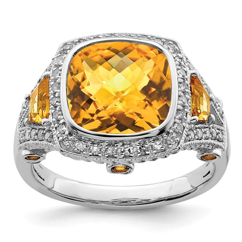 925 Sterling Silver Diamond Yellow Citrine Band Ring Size 7.00 Gemstone Fine Jewelry Gifts For Women For Her