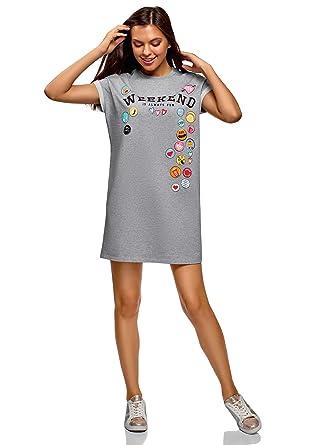comment acheter dégagement clair et distinctif oodji Ultra Femme Robe-T-Shirt avec Imprimé et Revers sur Les Manches