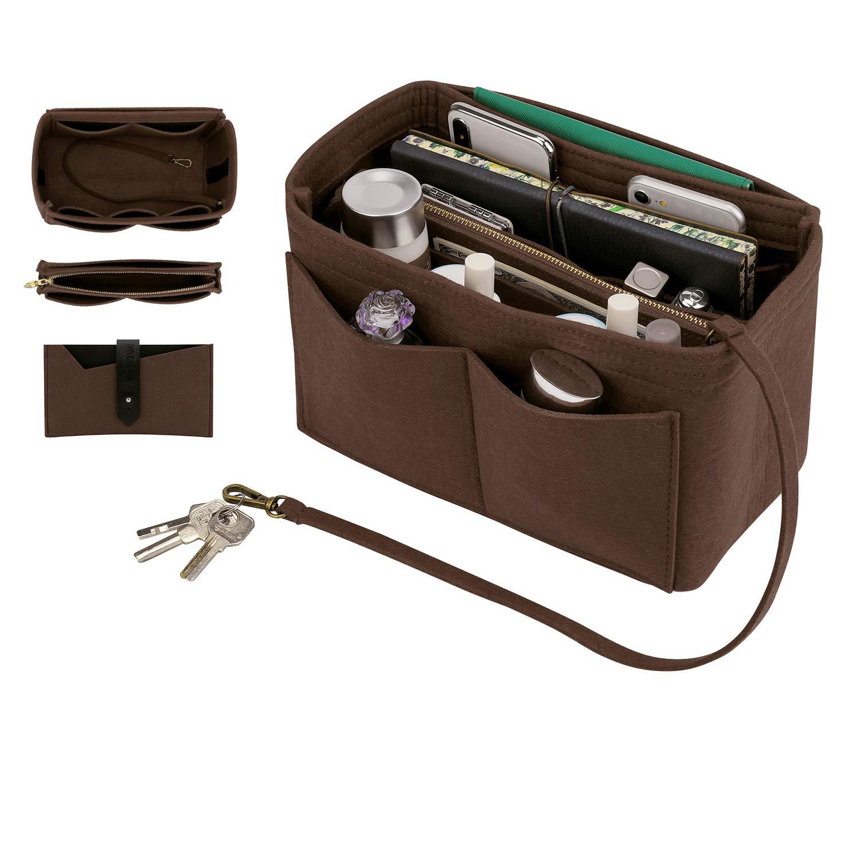 Purse Insert, Bridawn Felt Handbag Organizer Tote Shaper with Keys Chain for LV Speedy, Neverfull, Longchamp, Coffee, L by bridawn